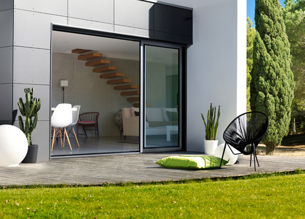 baie coulissante aluminium techniques stores. Black Bedroom Furniture Sets. Home Design Ideas